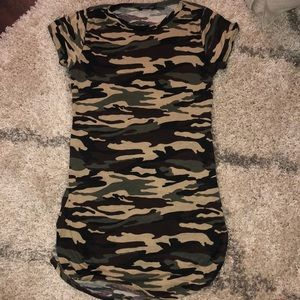Fashion Nova Short Sleeve Camo Dress